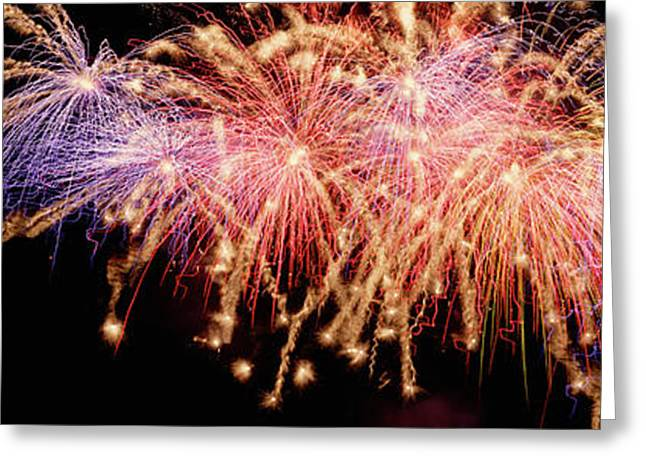 Cluster Of Fireworks Exploding Greeting Card