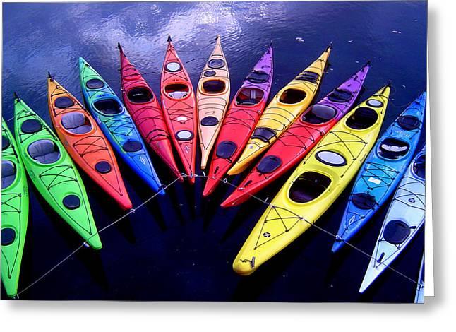 Clustered Kayaks Greeting Card