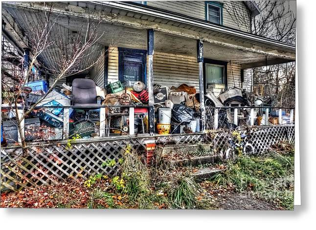 Clutter House Porch  Greeting Card by Dan Friend