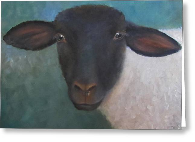 Clyde - A Suffolk Lamb Painting Greeting Card by Cheri Wollenberg