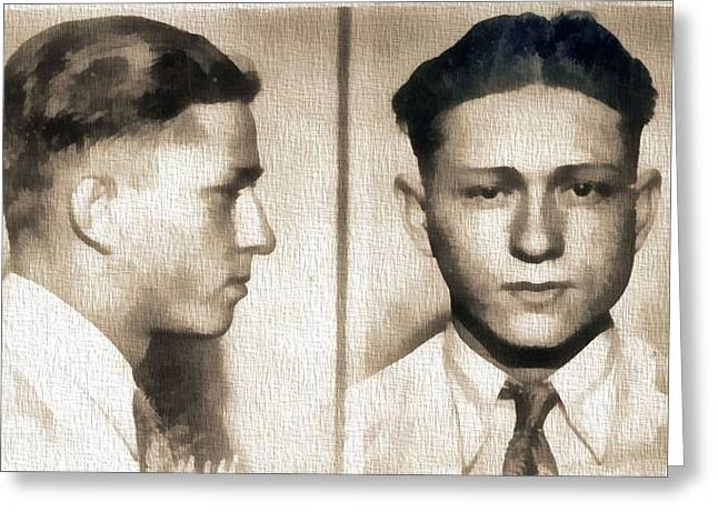 Clyde Barrow Mug Shot Greeting Card by Dan Sproul
