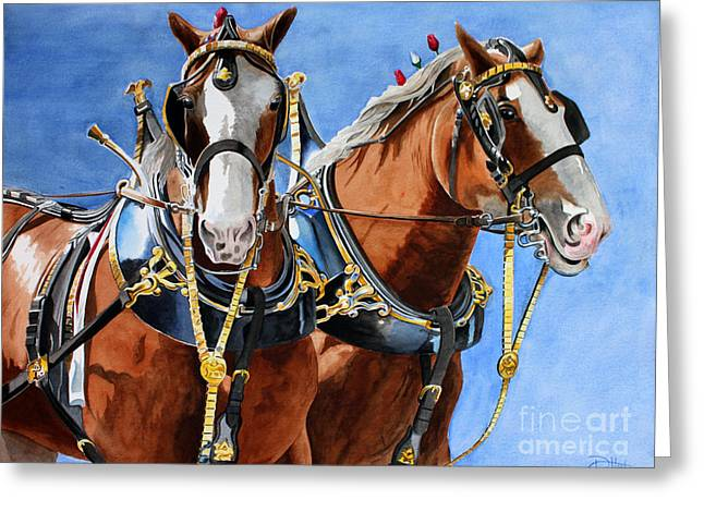 Clydesdale Duo Greeting Card by Debbie Hart
