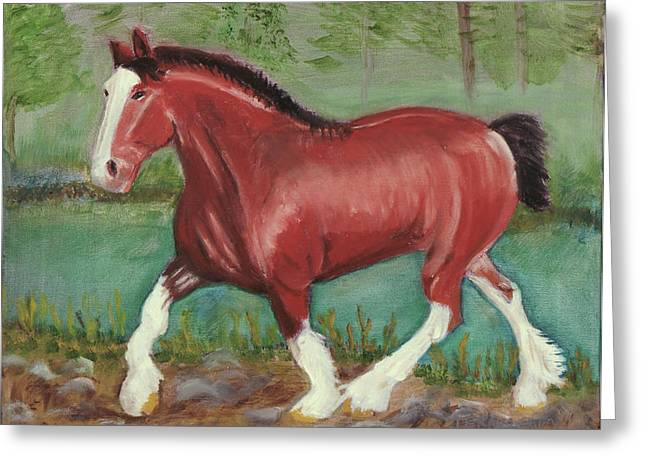 Clydesdale Greeting Card by Terry Lewey