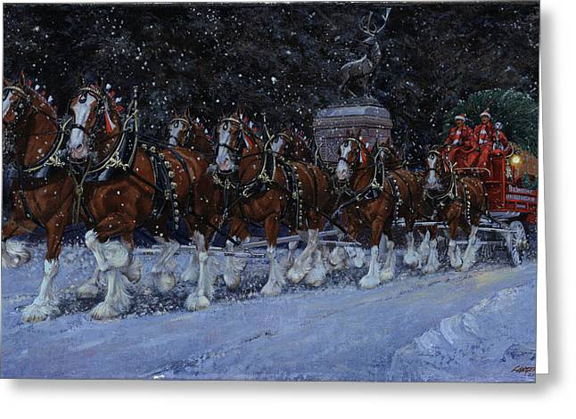 Clydesdales Coming Through The Gate Snowing Greeting Card by Don  Langeneckert
