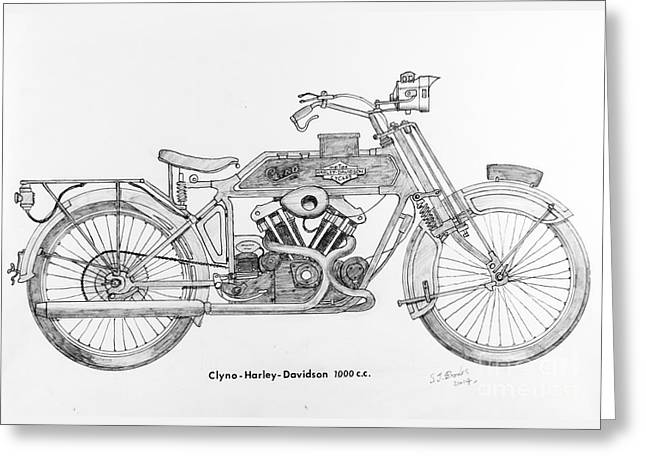 Clyno-harley-davidson Greeting Card by Stephen Brooks