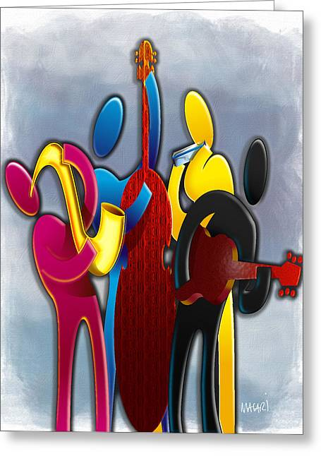 Cmyk Jazz Greeting Card by Mario Macari