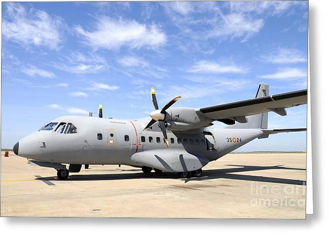 Cn-235 Transport Aircraft Greeting Card by Riccardo Niccoli