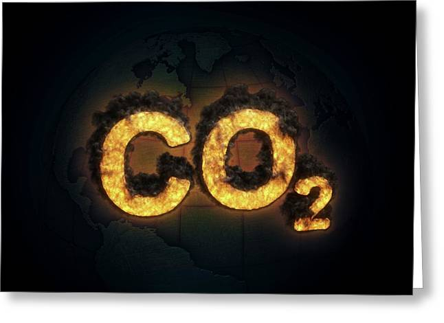 Co2 Symbol Burning Greeting Card by Andrzej Wojcicki