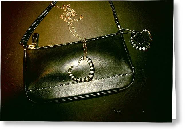 Coach Bag With Space Love Bling Greeting Card by Robert Cunningham