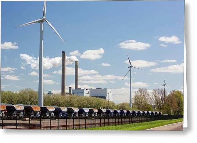 Coal Fired Power Station And Wind Turbine Greeting Card
