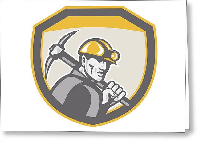Coal Miner Hardhat Holding Pick Axe Shield Retro Greeting Card by Aloysius Patrimonio