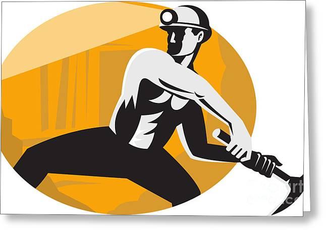 Coal Miner With Pick Ax Striking Retro Greeting Card by Aloysius Patrimonio