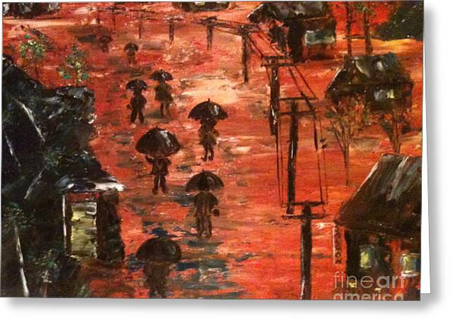 Greeting Card featuring the painting Coal Miners Cove  by Denise Tomasura