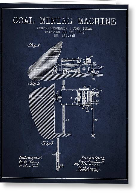 Coal Mining Machine Patent From 1903- Navy Blue Greeting Card by Aged Pixel