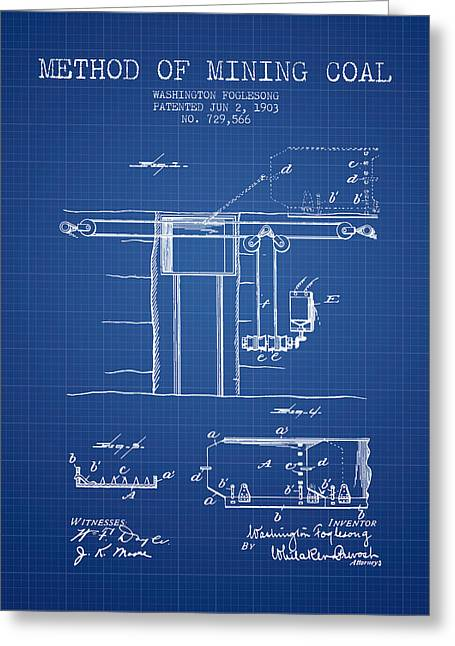 Coal Mining Patent From 1903- Blueprint Greeting Card by Aged Pixel
