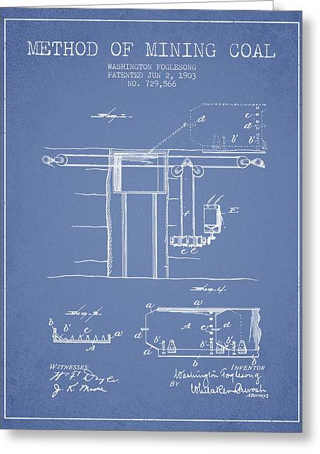 Coal Mining Patent From 1903- Light Blue Greeting Card by Aged Pixel
