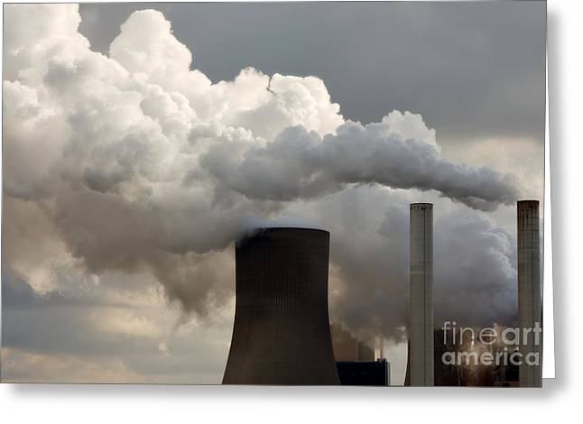 Coal Power Station Blasting Away Greeting Card