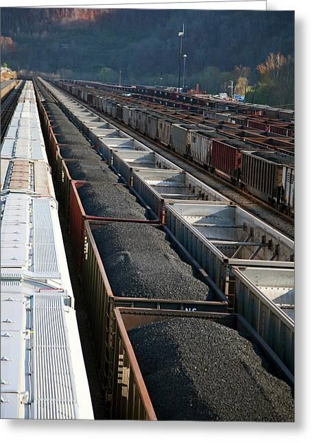 Coal Trains In Railway Yard Greeting Card