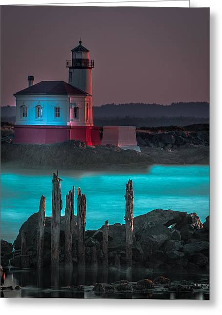 Coaquille Lighthouse Greeting Card by Tim Bryan
