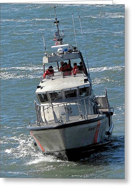 Coast Guard At Depot Bay Greeting Card