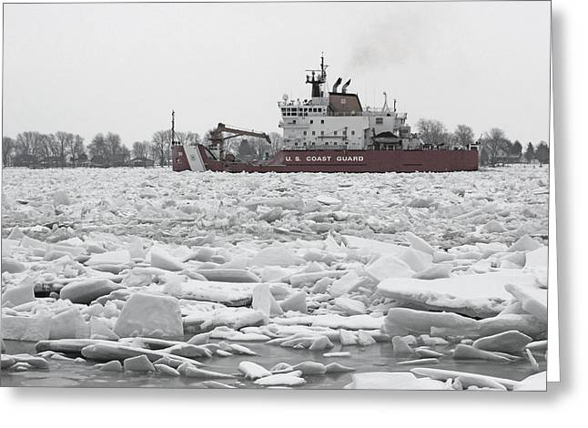 Coast Guard Cutter And Ice 6 Greeting Card by Mary Bedy