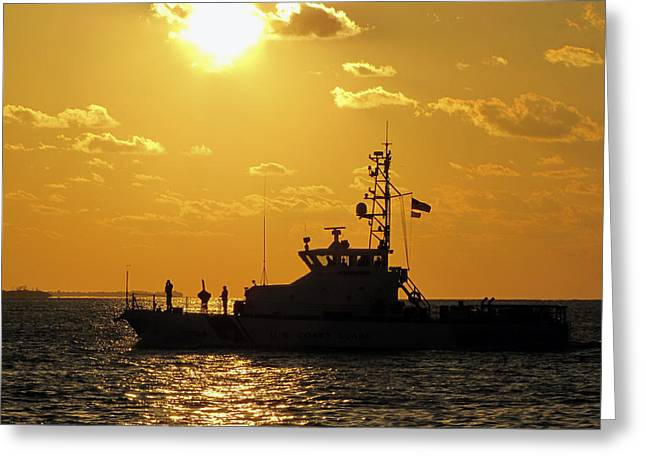 Coast Guard In Paradise - Key West Greeting Card by Bob Slitzan