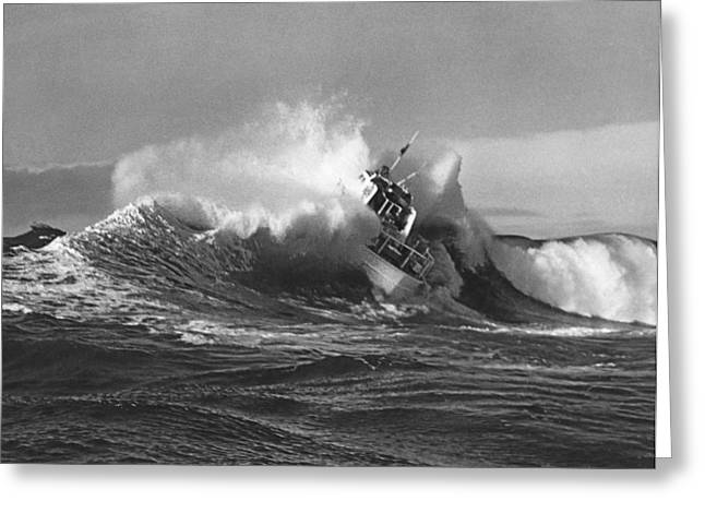 Coast Guard Surf Rescue Boat Greeting Card by Underwood Archives