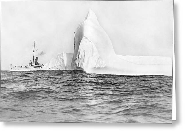 Coast Guard Tracks Icebergs Greeting Card by Underwood Archives