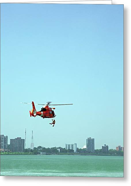 Coast Guard Water Rescue Demonstration Greeting Card by Jim West
