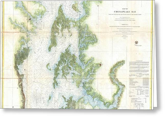 Coast Survey Chart Or Map Of The Chesapeake Bay Greeting Card by Paul Fearn