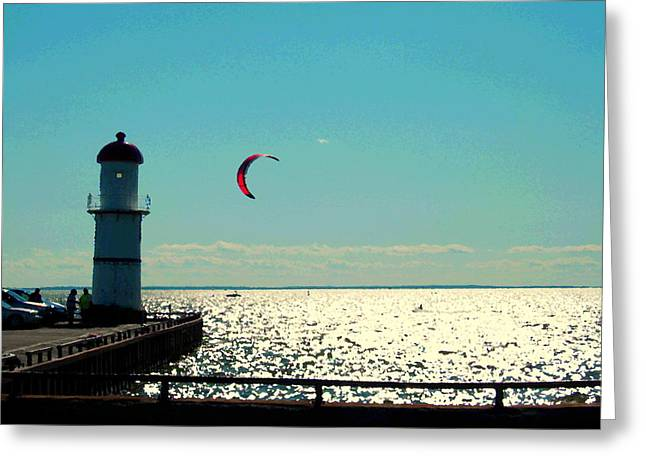 Coast To Coast Sea To Sky Flies Curiosity Crescent Kite Night Scenes On The Canal Carole Spandau Greeting Card