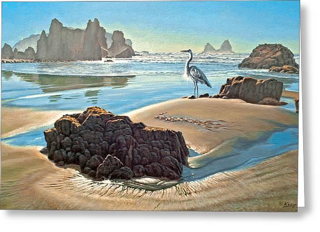 Coast With Great Blue Heron Greeting Card by Paul Krapf