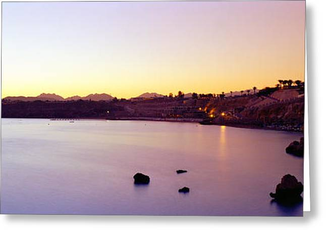 Coastal City At Dusk, Ras Um Sid, Sharm Greeting Card