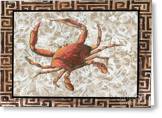 Coastal Crab Decorative Painting Greek Border Design By Madart Studios Greeting Card by Megan Duncanson