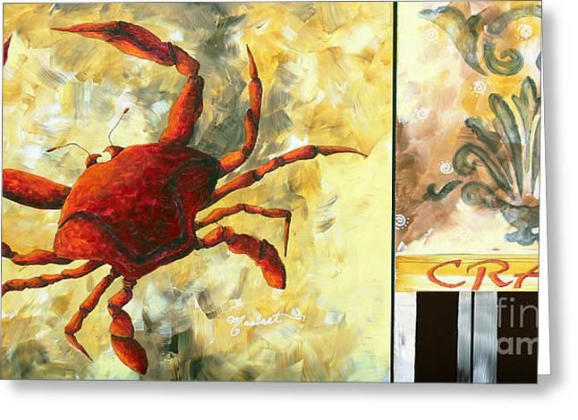 Coastal Crab Decorative Painting Original Art Coastal Luxe Crab By Madart Greeting Card by Megan Duncanson