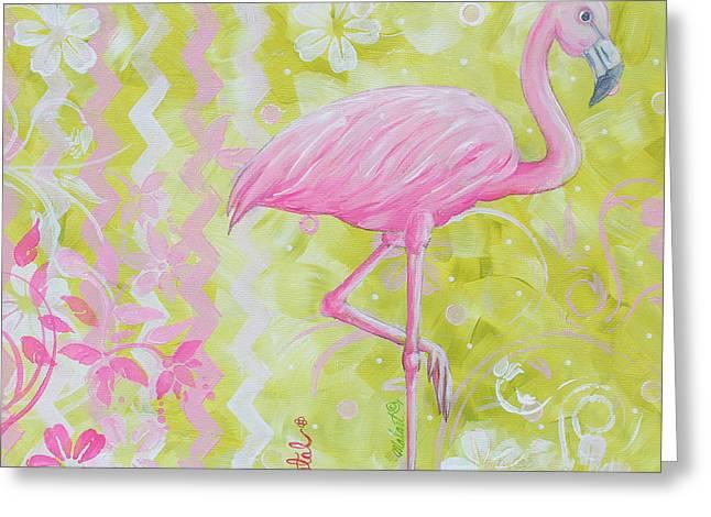 Coastal Decorative Pink Green Floral Chevron Pattern Art Flamingo Dance By Madart Greeting Card