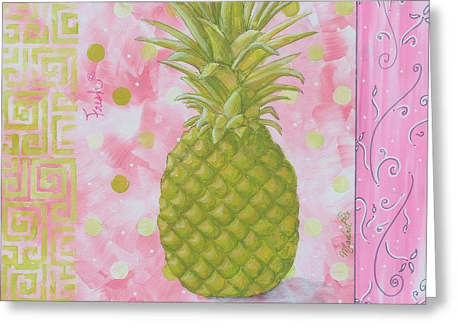 Coastal Decorative Pink Green Floral Greek Pattern Fruit Art Fresh Pineapple By Madart Greeting Card