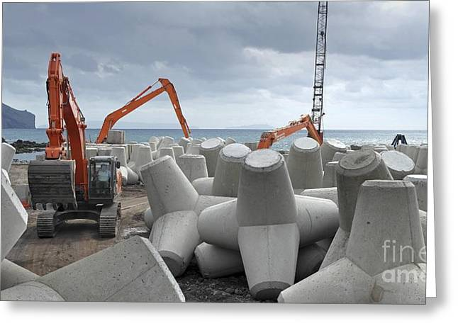 Coastal Defence Construction, Portugal Greeting Card by Tony Craddock