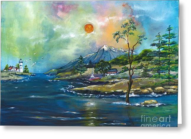 Coastal Landscape - Sunrise - Sunset Greeting Card by M E Wood