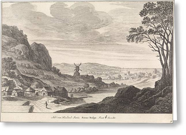 Coastal Landscape With A Windmill, Pieter Nolpe Greeting Card by Pieter Nolpe And Claes Jansz. Visscher (ii)