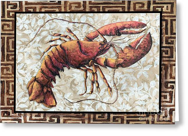 Coastal Lobster Decorative Painting Greek Border Design By Madart Studios Greeting Card by Megan Duncanson