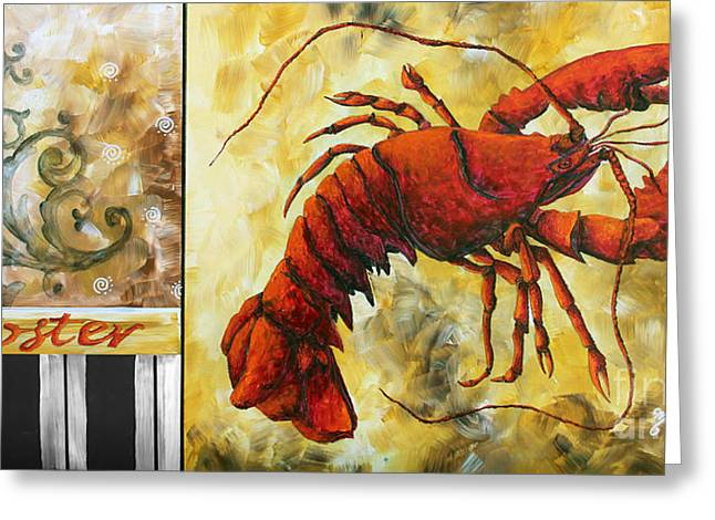 Coastal Lobster Decorative Painting Original Art Coastal Luxe Lobster By Madart Greeting Card by Megan Duncanson