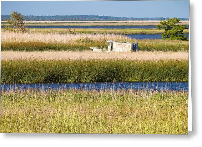 Coastal Marshlands With Old Fishing Boat Greeting Card by Bill Swindaman