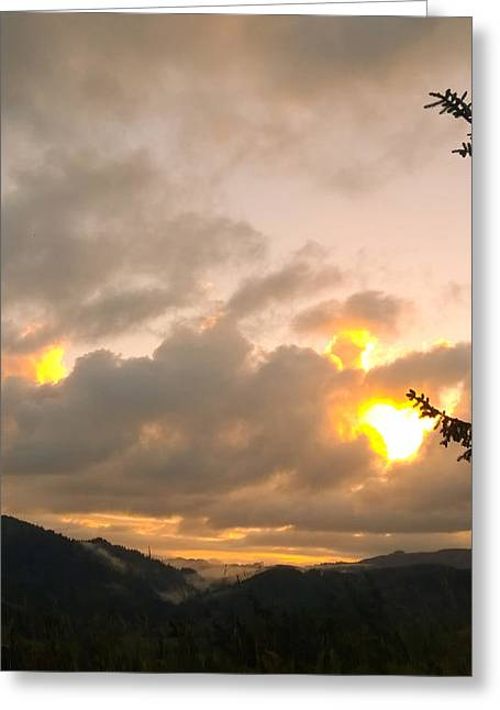 Coastal Mountain Sunrise Greeting Card
