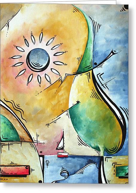 Coastal Nautical Abstract Pop Art Original Painting Sailors Sunset By Madart Greeting Card