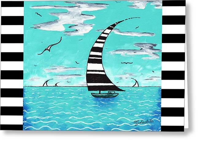 Coastal Nautical Decorative Art Original Painting With Stripes Refreshing By Madart Greeting Card by Megan Duncanson