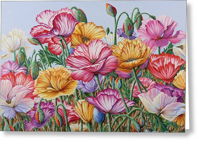 Greeting Card featuring the painting Coastal Poppies by Jane Girardot