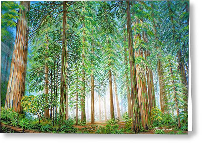 Greeting Card featuring the painting Coastal Redwoods by Jane Girardot