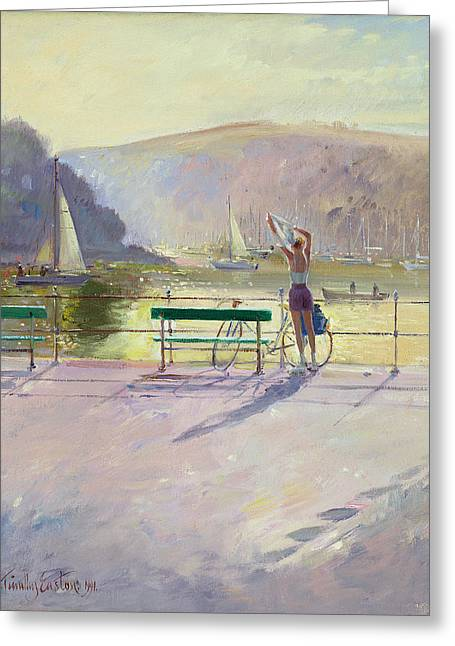 Coastal Rider Greeting Card by Timothy Easton