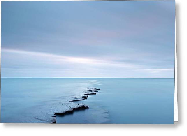 Coastal Rock Ledge At High Tide Greeting Card